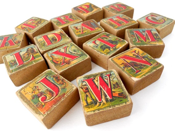 Antique Wooden ALPHABET Blocks - Set of 16 Blocks