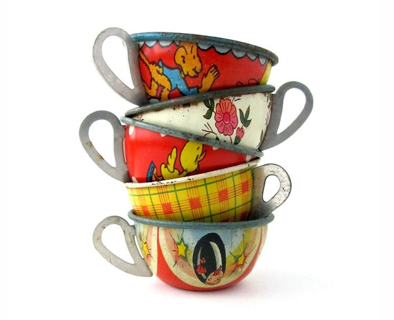 An Instant COLLECTION of TIN TEACUPS - Set of 5
