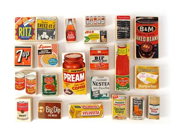 RESERVED for Julie - Groceries ART BLOCKS - Set of 21 Ephemera Art Blocks - 1950's Magazine Advertisements