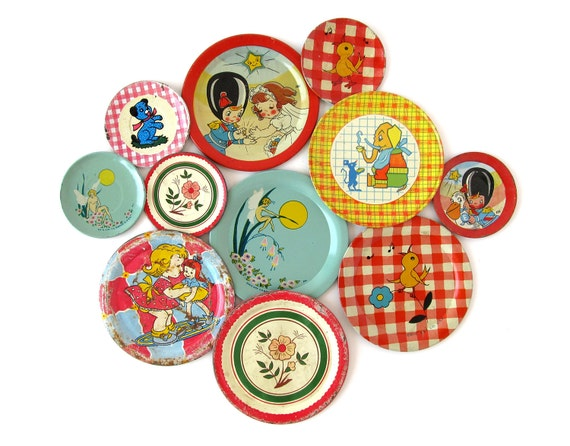 RESERVED for Priscilla - An Instant Collection of TIN SAUCERS - Set of 11 Pieces