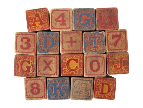 Antique ALPHABET Blocks - Set of 18 Embossed Wooden Blocks