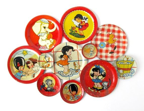 Tin Toy Saucers - Instant COLLECTION - Set of 11 Tea Set Pieces