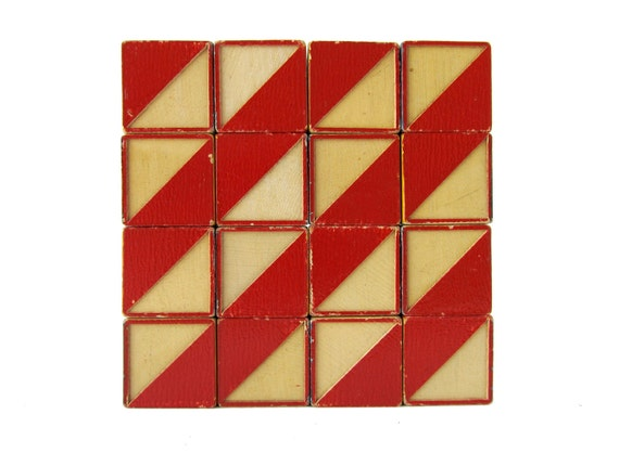 Vintage COLOR CUBES by The Embossing Company - Set of 16 Wooden Blocks