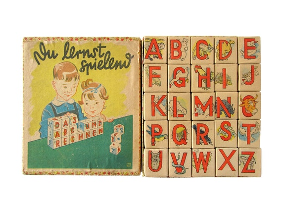 German ALPHABET Pasteboard Blocks - Set of 25 Blocks