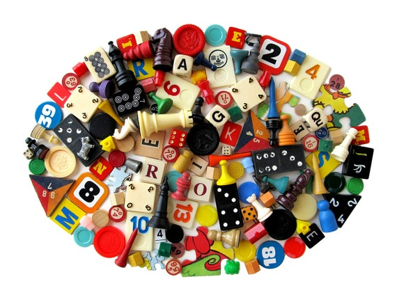 RESERVED for Mert - Vintage GAME Pieces - ASSORTED - Supplies for Assemblage, Crafts and More