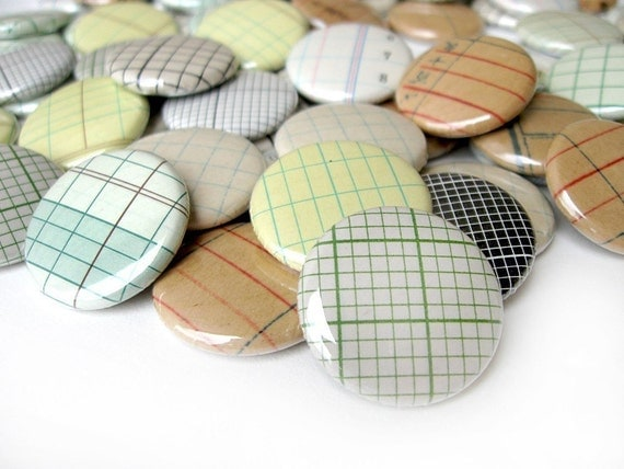 CUSTOM ORDER for Rachel - Vintage Graph Paper Pinback Buttons - Assorted Set of 54 Pinbacks