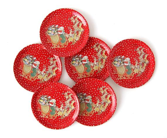 Santa Claus - Red TIN TOY Saucers - Set of 6 Pieces