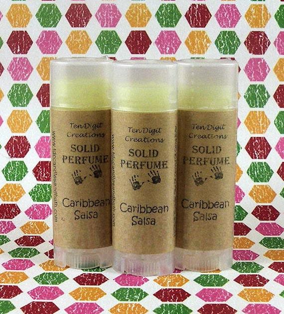 CARIBBEAN SALSA Solid Perfume with Cocoa Butter and Vitamin E - .15oz Oval Tube (pineapple, citrus, peach, tahitian vanilla) - CLEARANCE