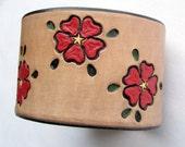 Big Red Flowers - Handmade Wide Leather Wristband