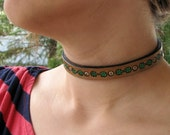 Tooled Leather Choker - Flowers and Leaves - White or Red Flowers