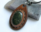 Stone and Leather Necklace / Pendant - Serpentine Earth Medallion