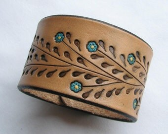 Little Blue Flowers on a Wide Leather Wristband - Leather Cuff Bracelet