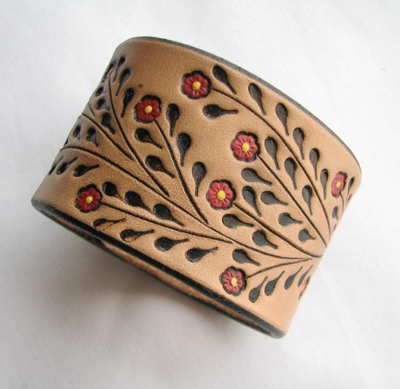 Little Red Flowers - Wide Leather Wristband