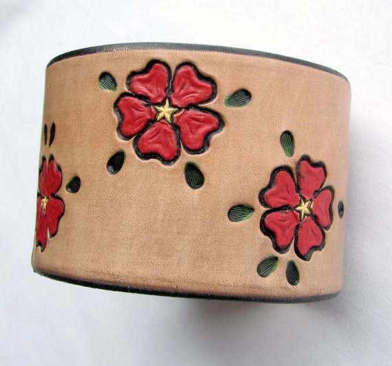 Big Red Flowers - Handmade Wide Leather Wristband