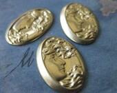 4 PC Brass Nouveau Goddess Repousse Cameo / 14 x 21mm - Y018