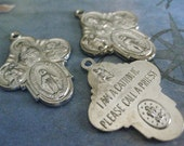 2 PC Catholic Medal / Silver Plated Brass / Made in Italy 22x28mm - Y008