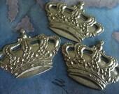 2 PC Raw Brass - Large Pierced Crown Jewelry Finding / Embellishment - DD04