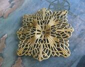 1 PC Raw Brass Dapped Filigree Jewel Wrap /  Large - Jewelry Finding - U0015