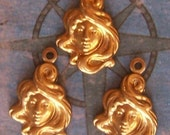 2 PC Brass Vintage Art Nouveau Mucha Style Goddess Face Cameo Charm Finding - B0030