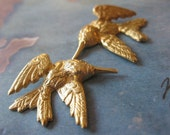 2 PC Raw Brass Tiny Dimensional Humming Bird Set / Left and Right Facing - GG20 and GG21