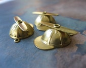 2 PC Brass Little Propeller Hat  Charm / Pendant - OO10