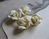 4 PC Ivory Porcelaine Flower Cabochon / German Bisque - 11mm