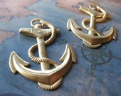 2 PC Raw Brass Nautical / Ship Anchor and Rope Pendant  - SS13