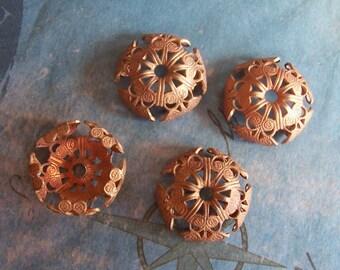 2 PC Victorian Filigree Fancy Brass Bead\/Button Cap - Jewelry Finding 14mm Bead - C0072