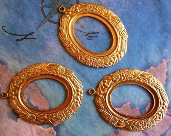 2 PC Brass - Victorian Oval Cabochon / Cameo Frame Mount Setting -  I0185
