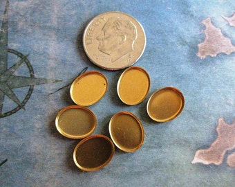 6 PC Brass Cabochon / Stone Setting 8mm x 10mm - X0001
