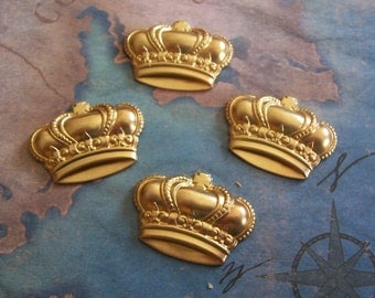 2 PC Raw Virgin Brass - Med Crown Jewelry Finding / Embellishment - ZNE A0001