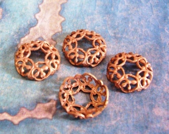4 PC Victorian Raw Brass Bead Cap / Spacer Jewelry Finding 10-12mm Beads - ZNE C0051