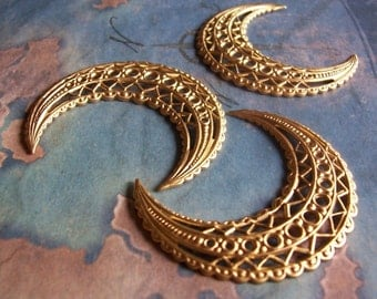 2 PC Raw Brass Filigree Crescent Finding -  G0145