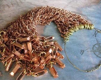 6 PC Vintage Japan - Copper Bracelet Chains With Fold Over Clasp