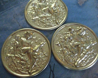 2 PC Large Raw Brass Cupid and Mandolin Player Medallion - DD03