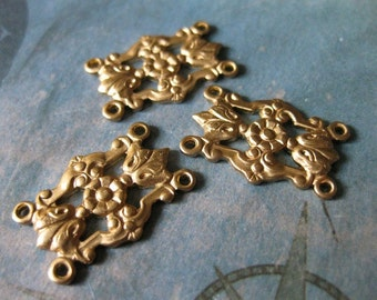 4 PC Victorian Filigree Floral Raw Brass Link Finding - D0093
