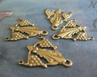 2 PC Brass Nouveau Style Three way Jewelry Finding - J0209