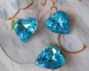 2 PC Vintage Czech Glass Faceted Foil back Heart Stone - ZNE S0400