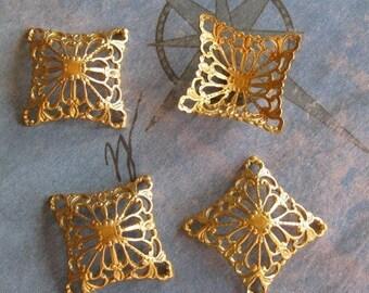 4 PC Raw Virgin Brass Filigree Link/ Wrap Jewelry Finding - ZNE R0370