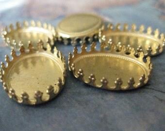 4 PC Raw Brass Crown Edge Bezel Setting 18mm x 13mm - CC01