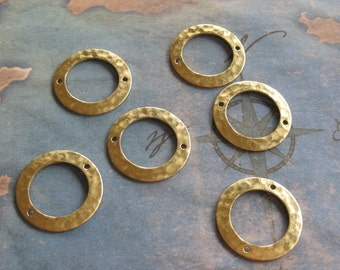 6 PC Hammered Brass Hoop / Ring Jewelry Finding - Q0267