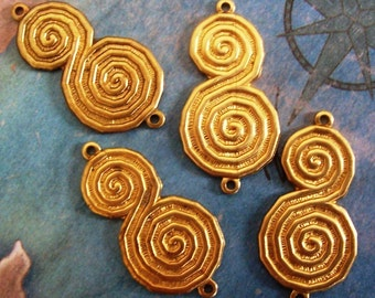 2 PC Raw Brass Deco Scroll Connector / Link Jewelry Finding -  J0210