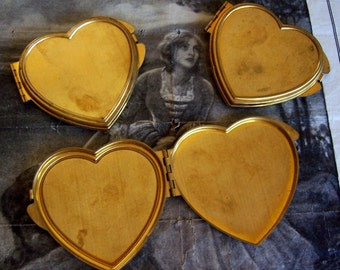 1 PC Raw Brass Vintage Heart Compact Case