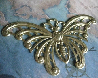 1 PC Large Raw Brass Nouveau Lace Wing Butterfly -  0007T