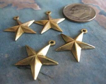 4 PC Brass 5 Point Star Charm / Medium  - V0024