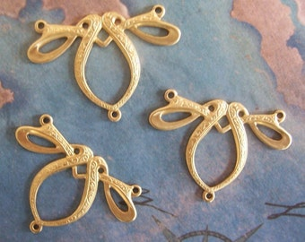 2 PC Raw Brass Nouveau/Deco Style Three way Jewelry Finding - ZNE J0213