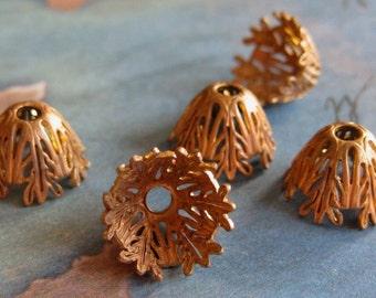 2 PC Victorian Filigree Fancy  Brass Bead Cap - Jewelry Finding - R0383