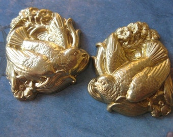 2 PC Raw Brass Repousse Bird and Flowers Stamping / Left and Right - GG23 and GG24