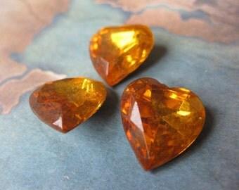 2 PC Vintage Czech Glass / Golden Topaz Faceted Foil back Heart Stone 15mm - GG14