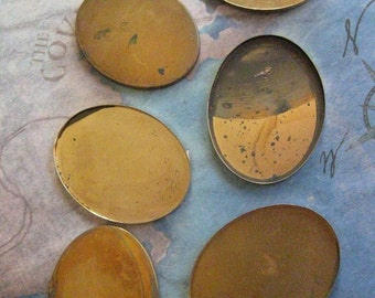 6 PC Vintage Brass / Oval Bezel Cup Setting - 30mm x 40mm Cabochons and Cameos U009